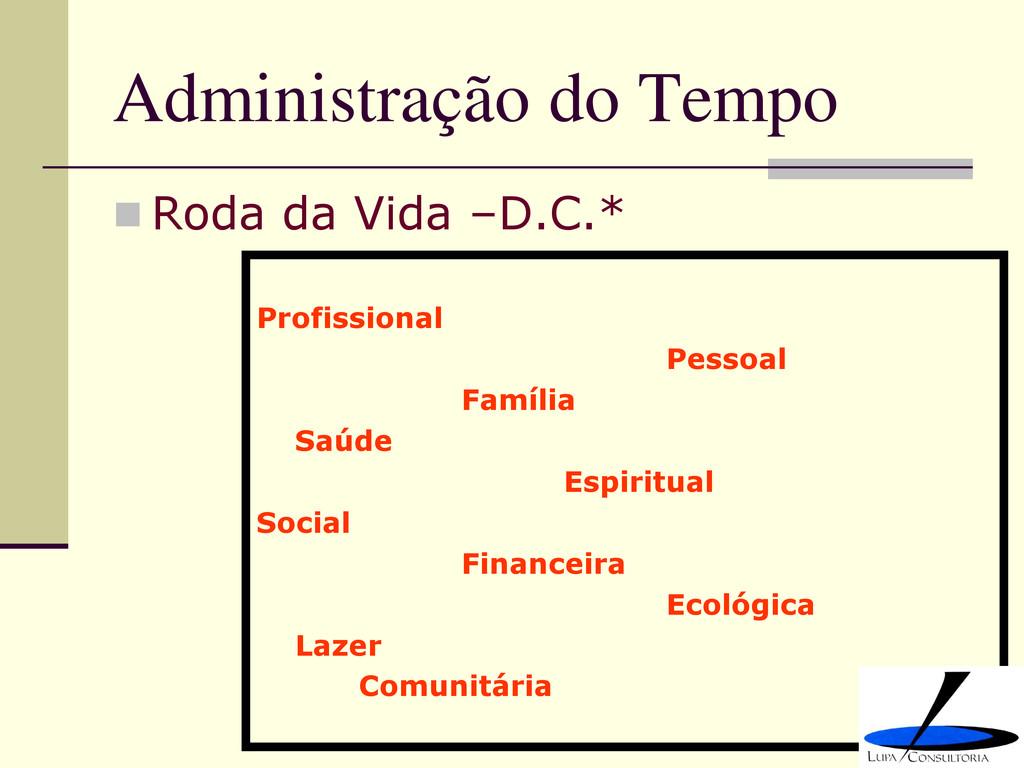 Administração do Tempo  Roda da Vida –D.C.* Pr...