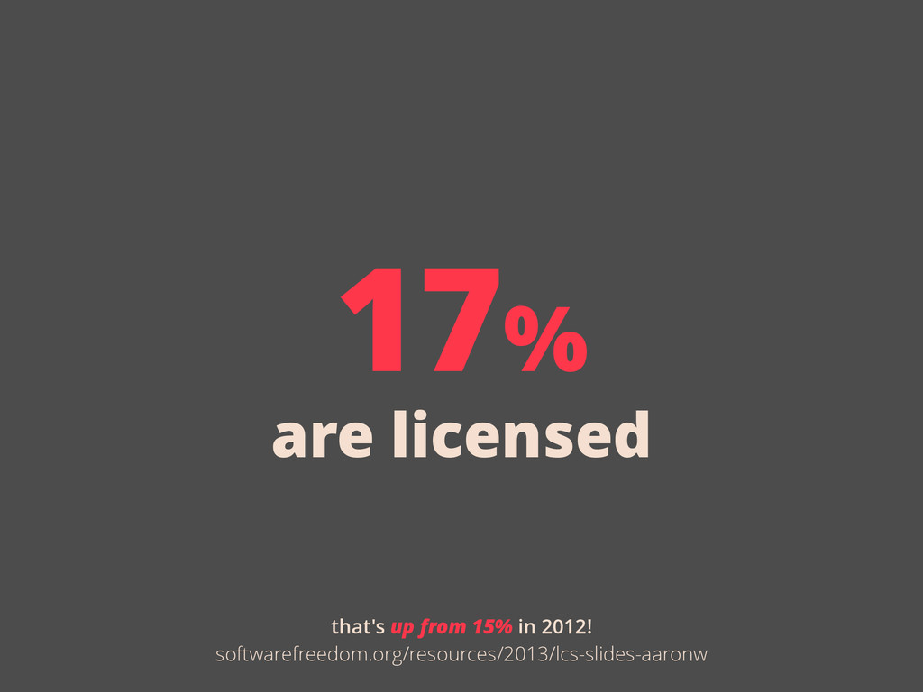 17% are licensed that's up from 15% in 2012! so...