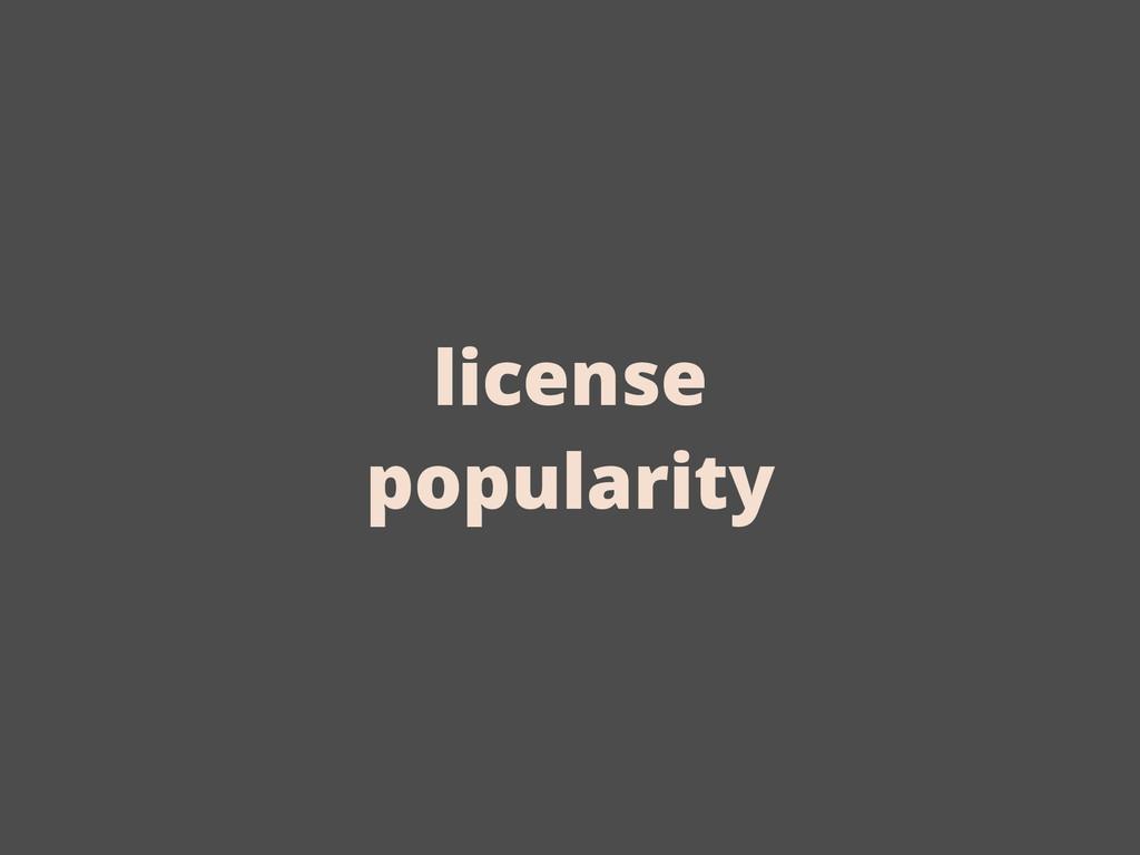 license popularity