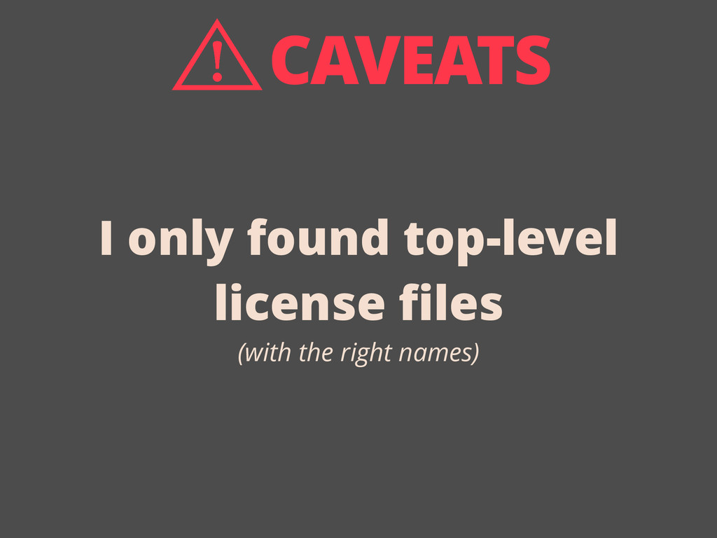 I only found top-level license files (with the r...