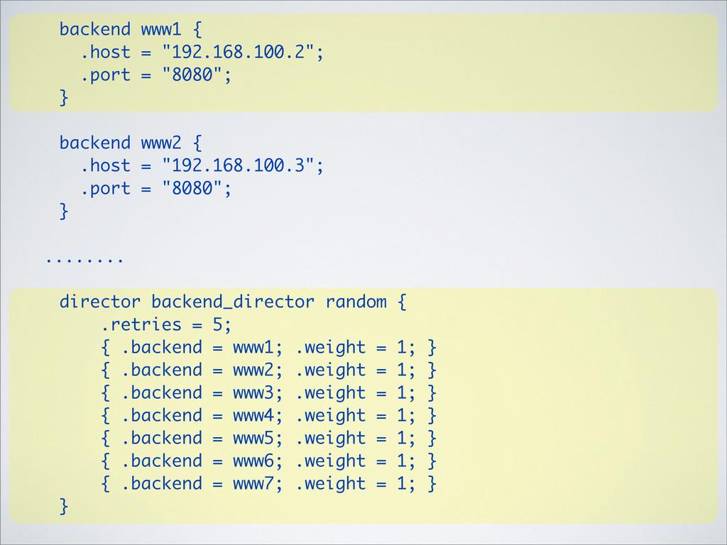 """backend www1 { .host = """"192.168.100.2""""; .port =..."""