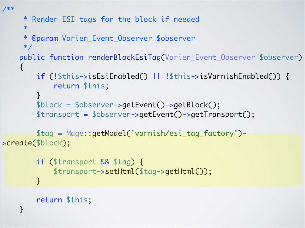 /** * Render ESI tags for the block if needed *...