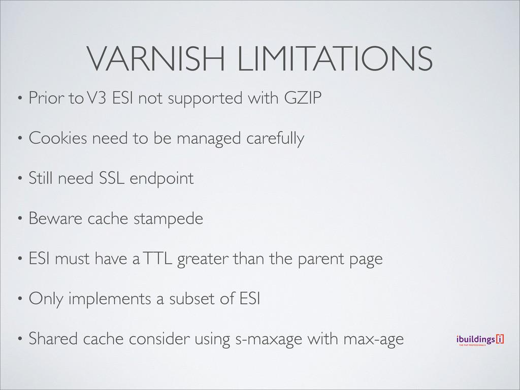 VARNISH LIMITATIONS • Prior to V3 ESI not suppo...