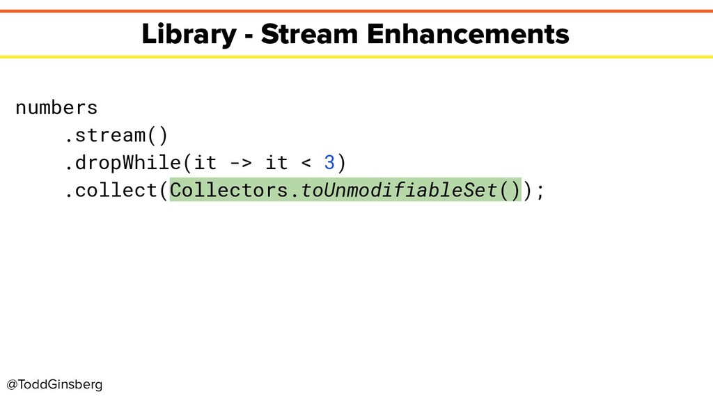 @ToddGinsberg Library - Stream Enhancements num...