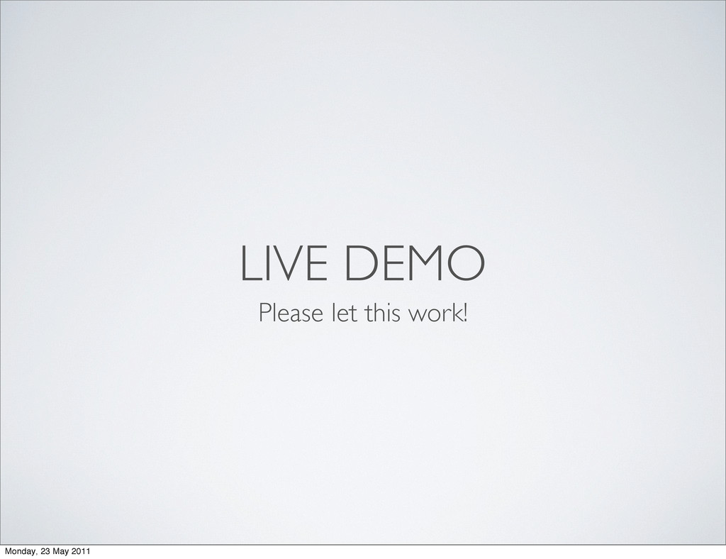 LIVE DEMO Please let this work! Monday, 23 May ...