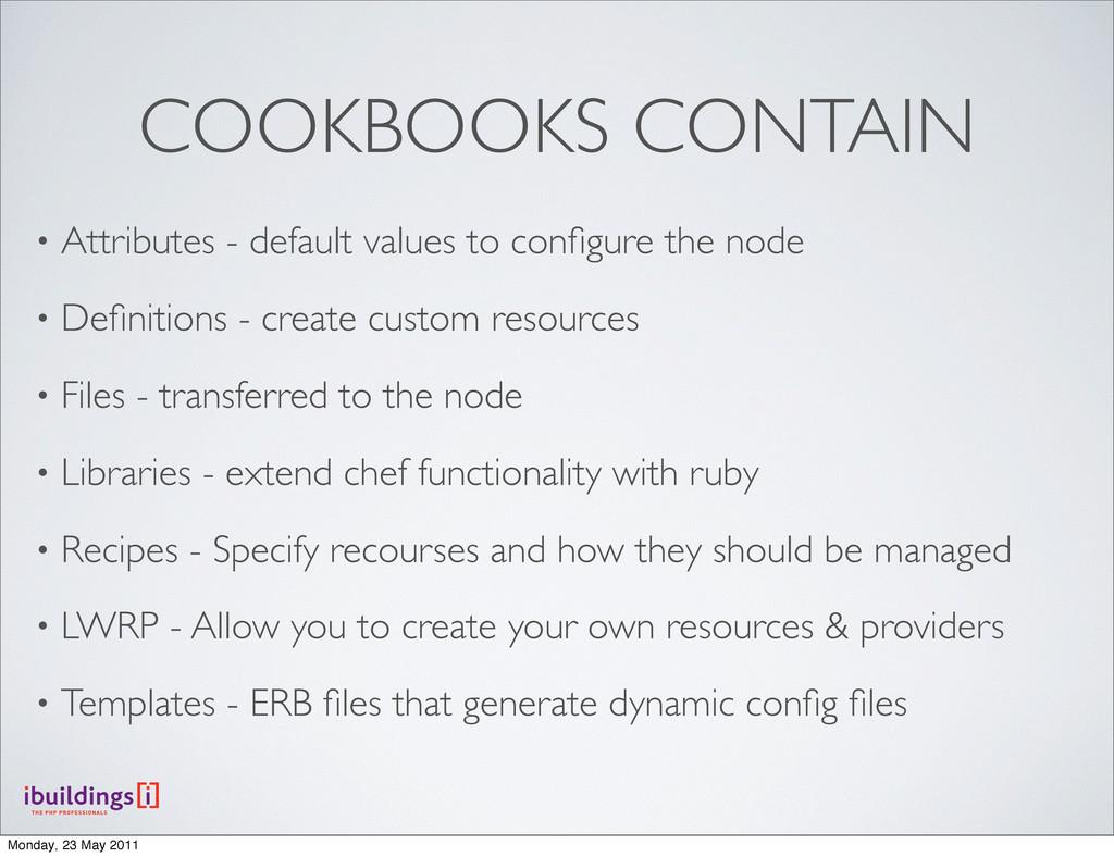 COOKBOOKS CONTAIN • Attributes - default values...
