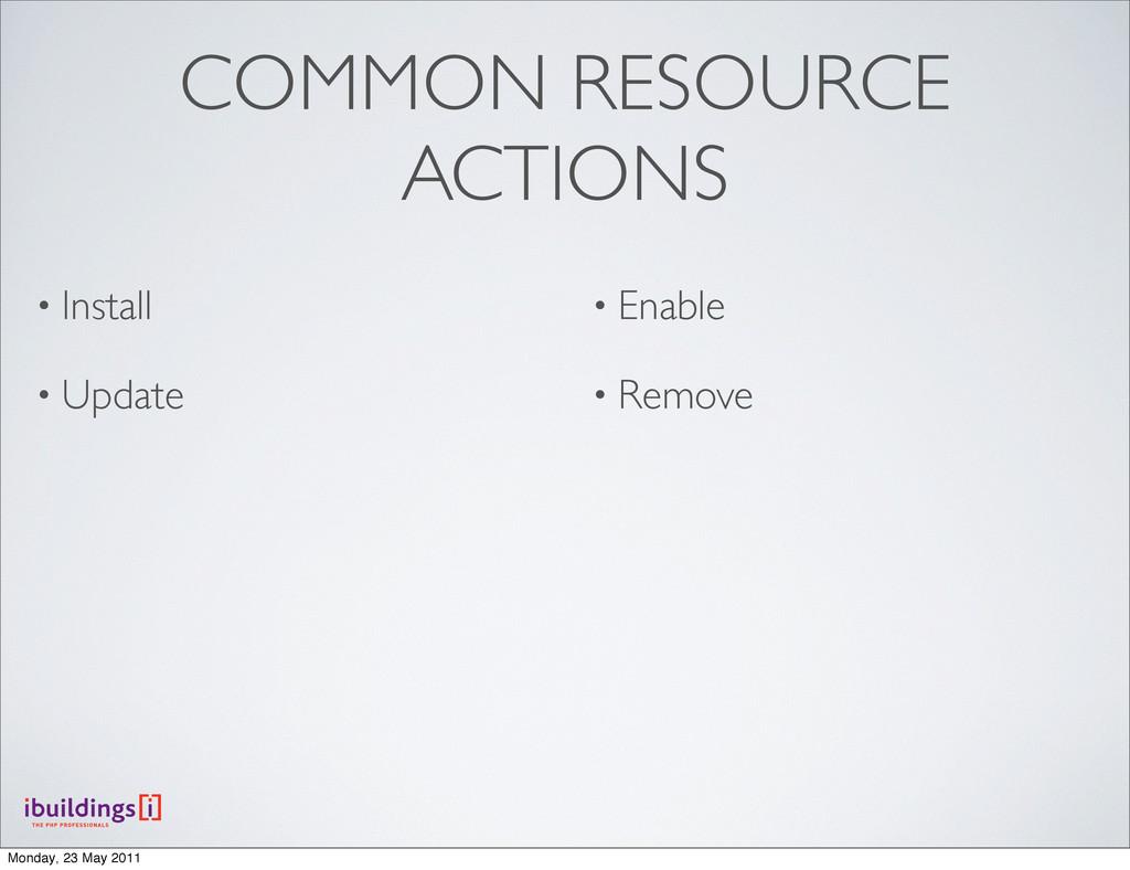 COMMON RESOURCE ACTIONS • Install • Update • En...