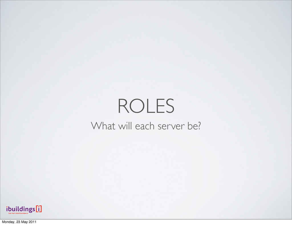 ROLES What will each server be? Monday, 23 May ...