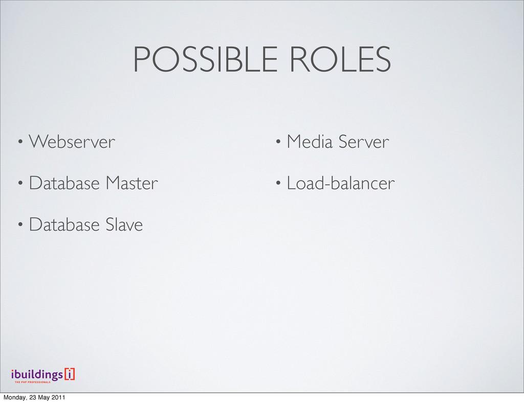 POSSIBLE ROLES • Webserver • Database Master • ...