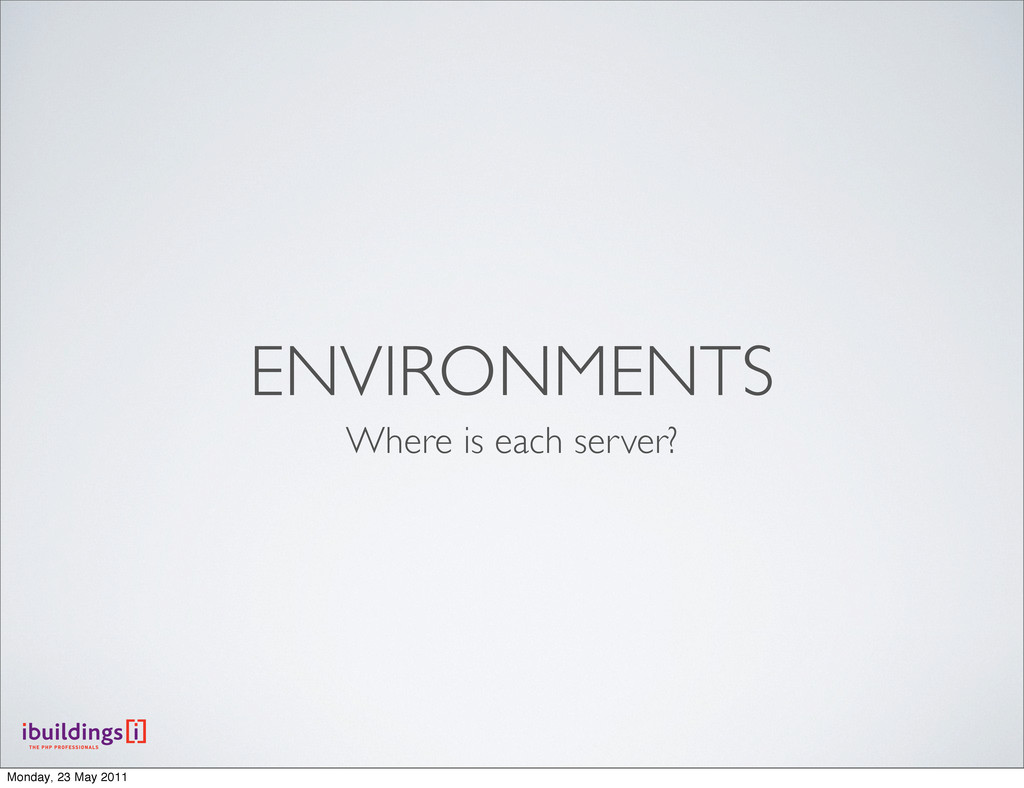 ENVIRONMENTS Where is each server? Monday, 23 M...