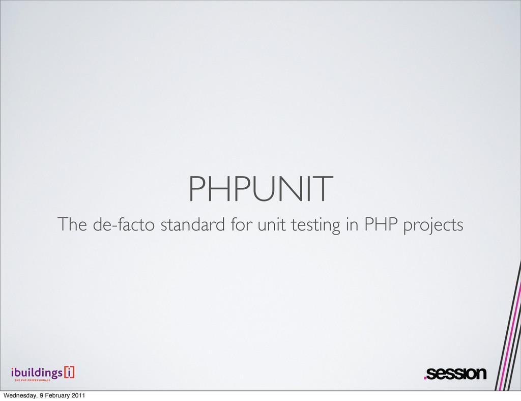 PHPUNIT The de-facto standard for unit testing ...