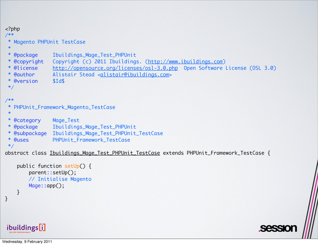 <?php /** * Magento PHPUnit TestCase * * @packa...