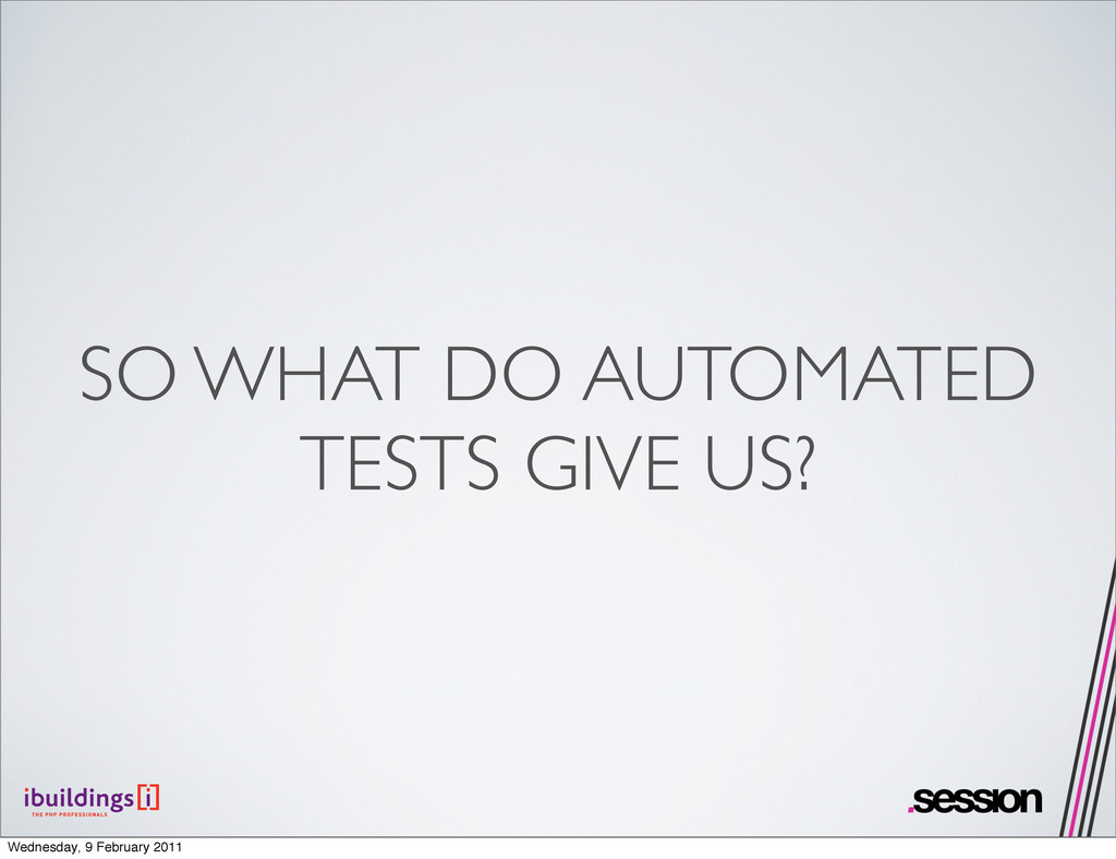 SO WHAT DO AUTOMATED TESTS GIVE US? Wednesday, ...