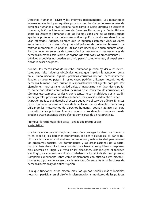 Derechos Humanos (INDH) y los informes parlamen...