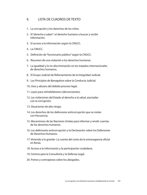 II. LISTA DE CUADROS DE TEXTO 1. La corrupción ...