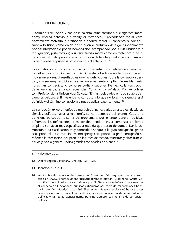 """II. DEFINICIONES El término """"corrupción"""" viene ..."""