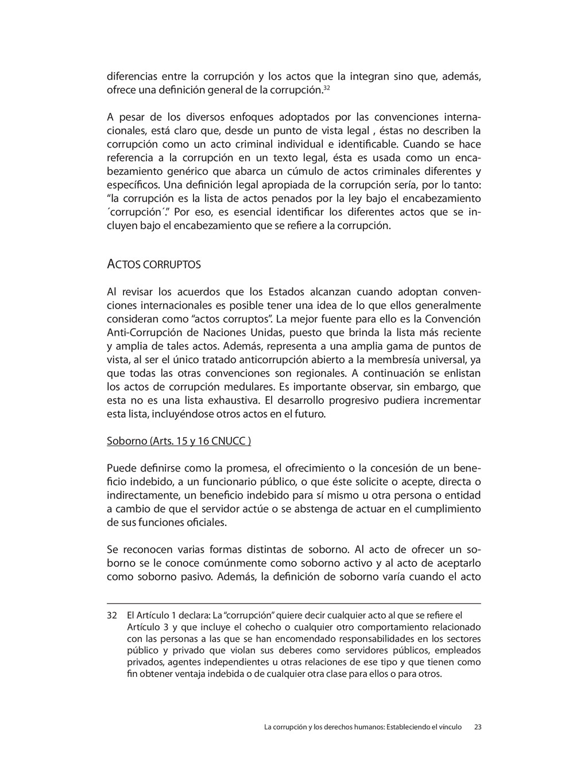 """32 El Artículo 1 declara: La """"corrupción"""" quier..."""