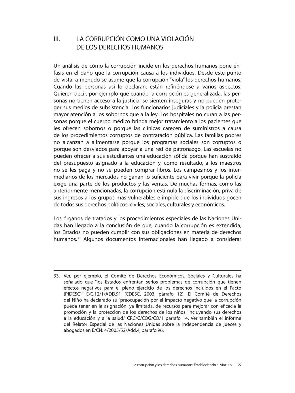 III. LA CORRUPCIÓN COMO UNA VIOLACIÓN DE LOS DE...
