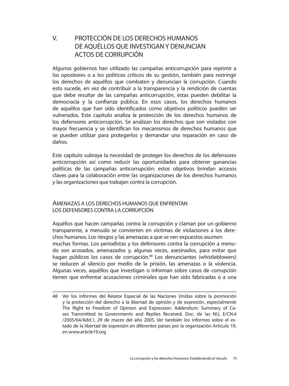 V. PROTECCIÓN DE LOS DERECHOS HUMANOS DE AQUÉLL...