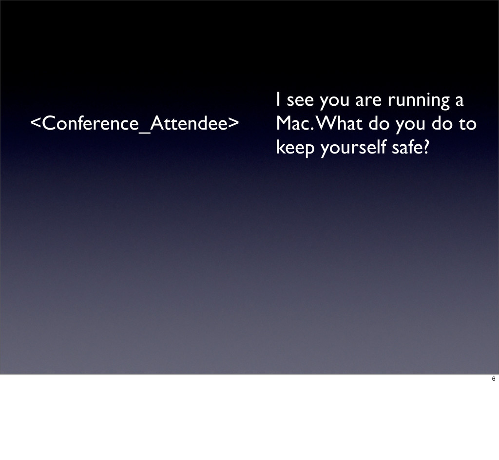<Conference_Attendee> I see you are running a M...