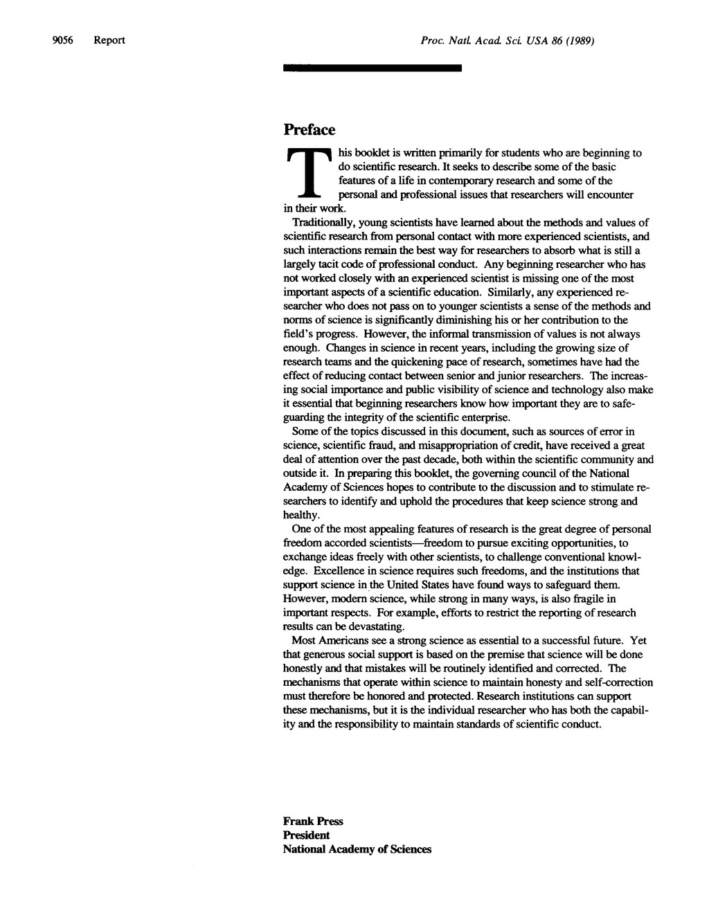 Proc. Natl. Acad. Sci USA 86 (1989) Preface T h...