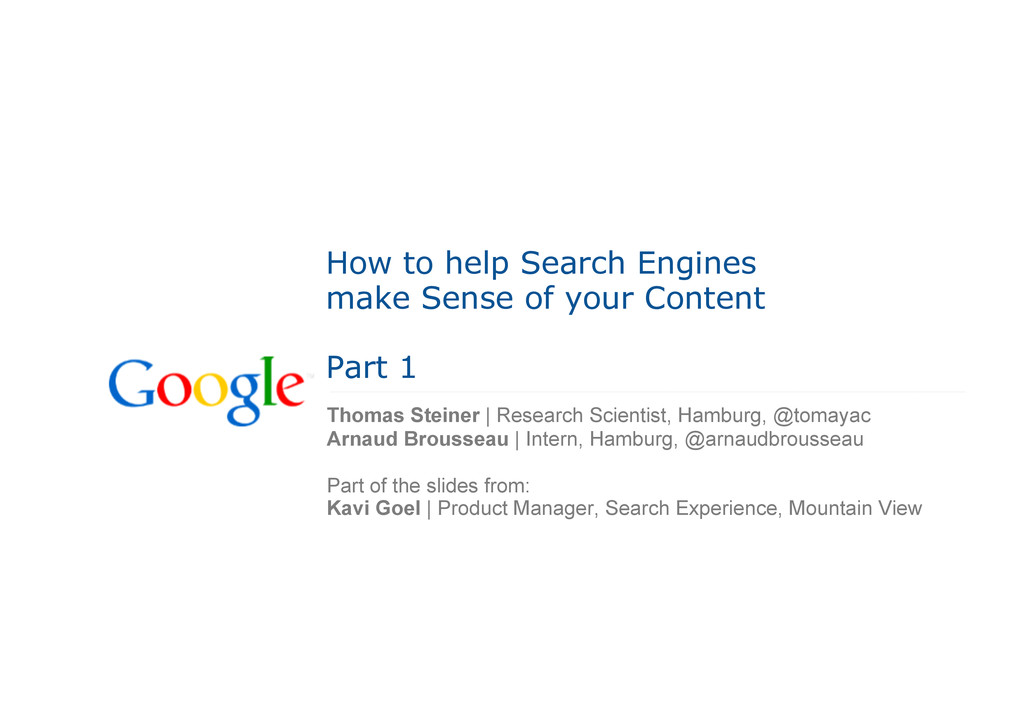 How to help Search Engines make Sense of your C...
