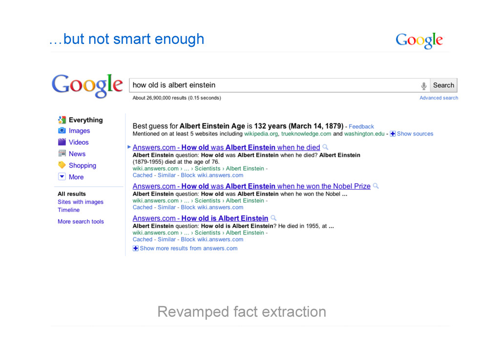 …but not smart enough Revamped fact extraction