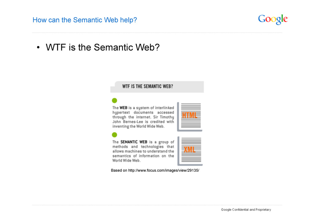 How can the Semantic Web help? • WTF is the Se...