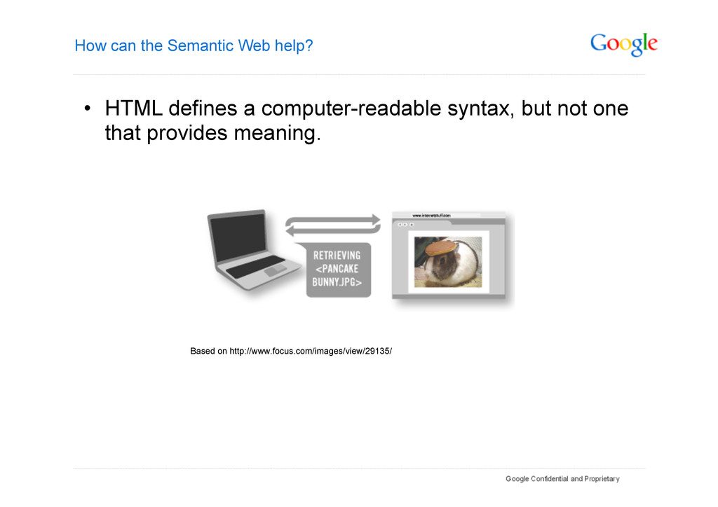 How can the Semantic Web help? • HTML defines ...