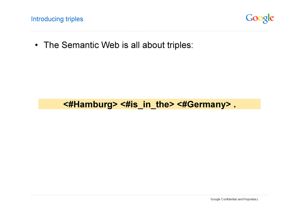 Introducing triples • The Semantic Web is all ...