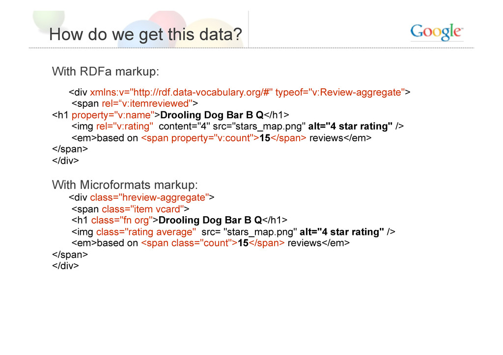 How do we get this data? With RDFa markup: <div...