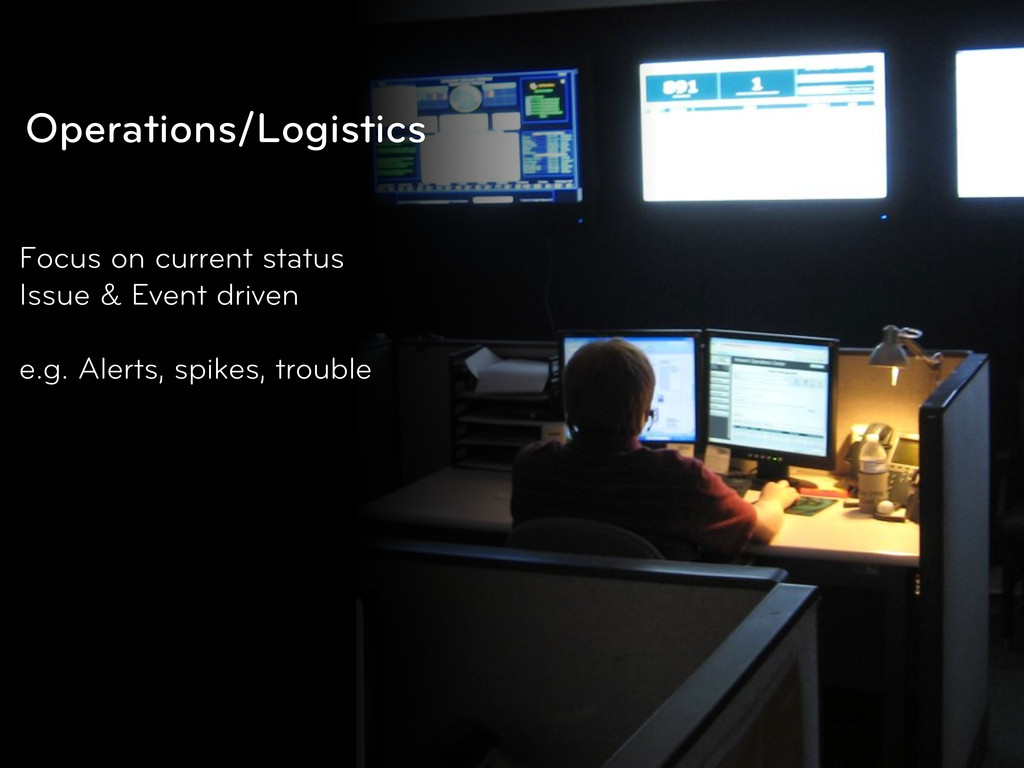 Operations/Logistics Focus on current status Is...