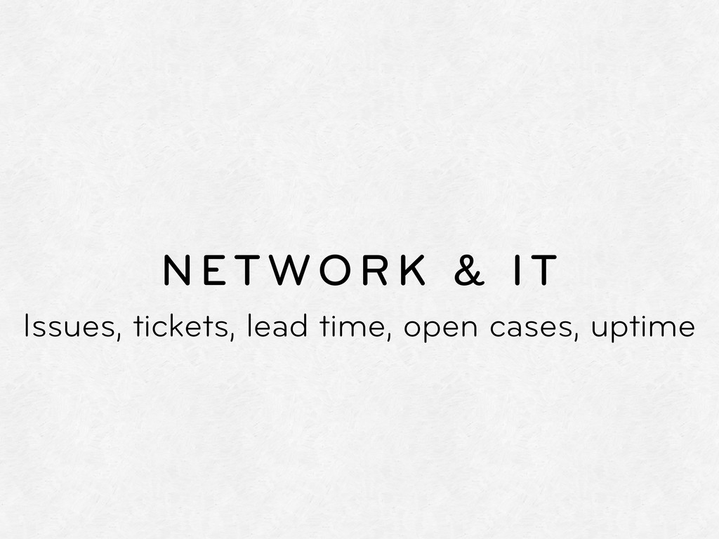 NETWORK & IT Issues, tickets, lead time, open c...
