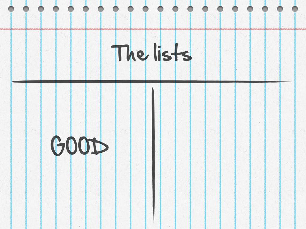 The lists GOOD