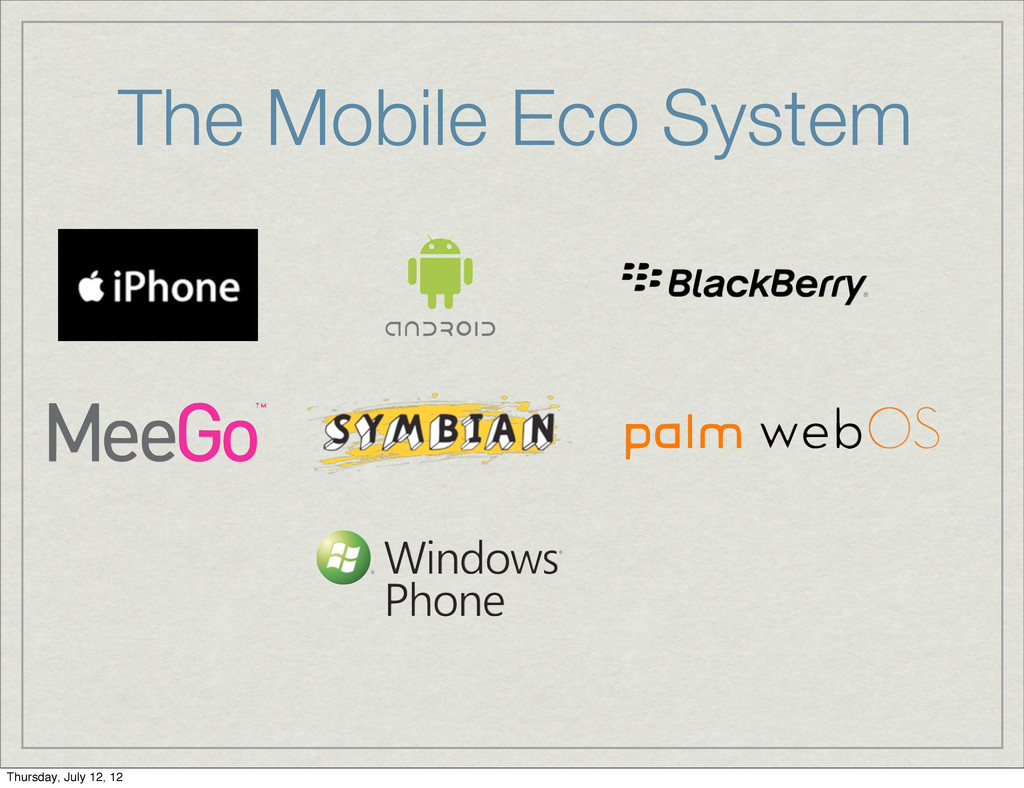 The Mobile Eco System Thursday, July 12, 12