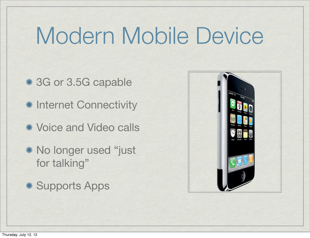 Modern Mobile Device 3G or 3.5G capable Interne...