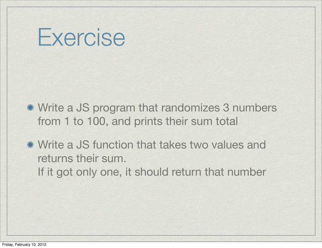 Exercise Write a JS program that randomizes 3 n...