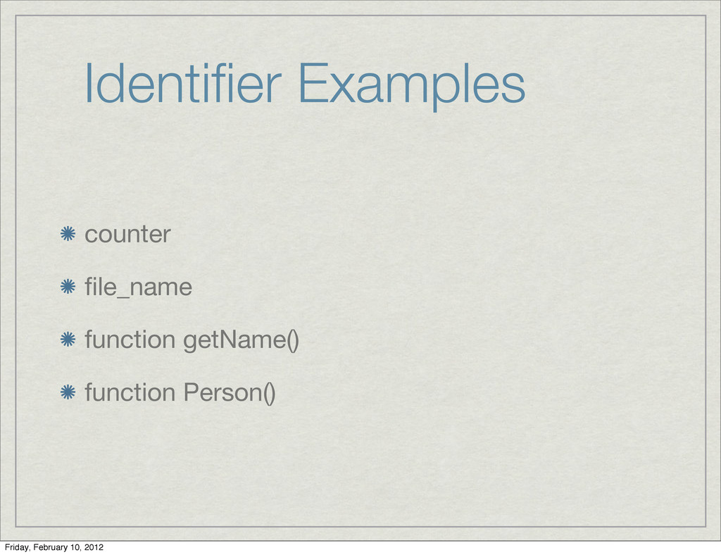 Identifier Examples counter file_name function ge...