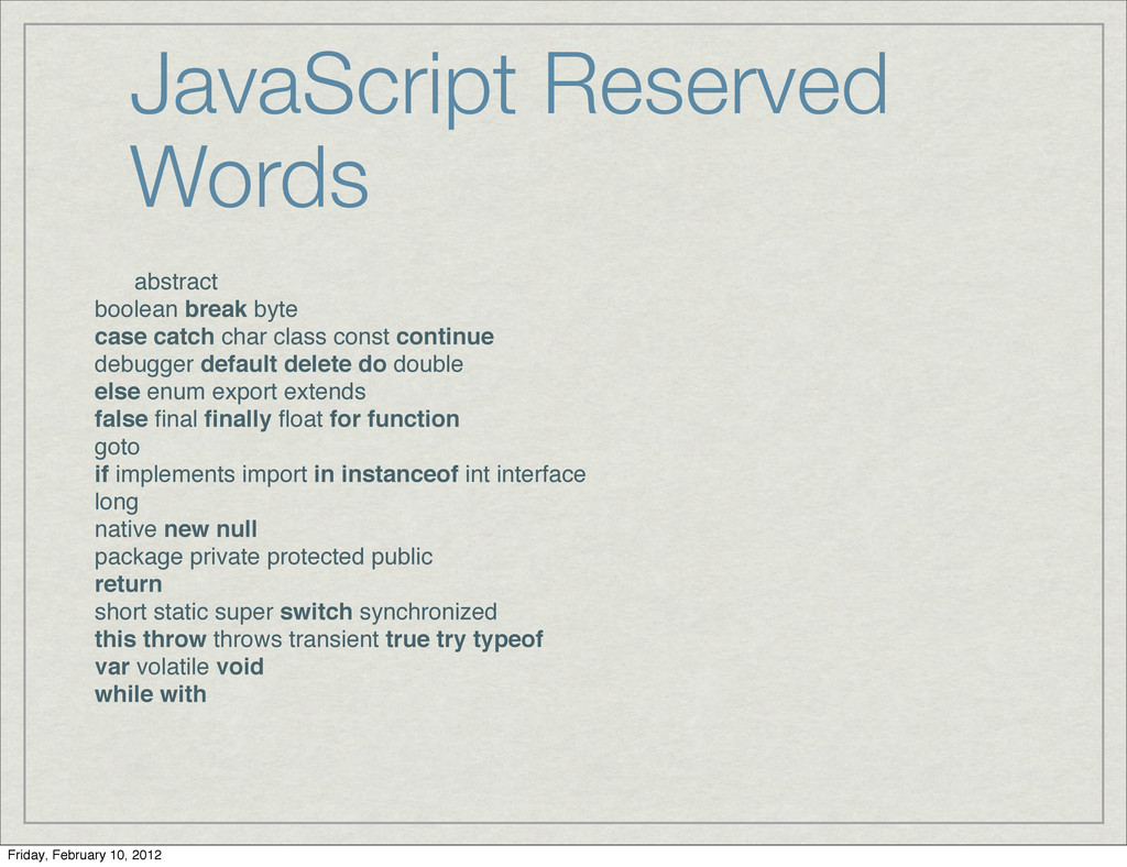 JavaScript Reserved Words abstract boolean brea...
