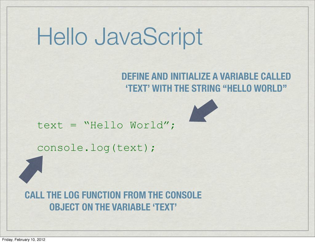 "Hello JavaScript text = ""Hello World""; console...."