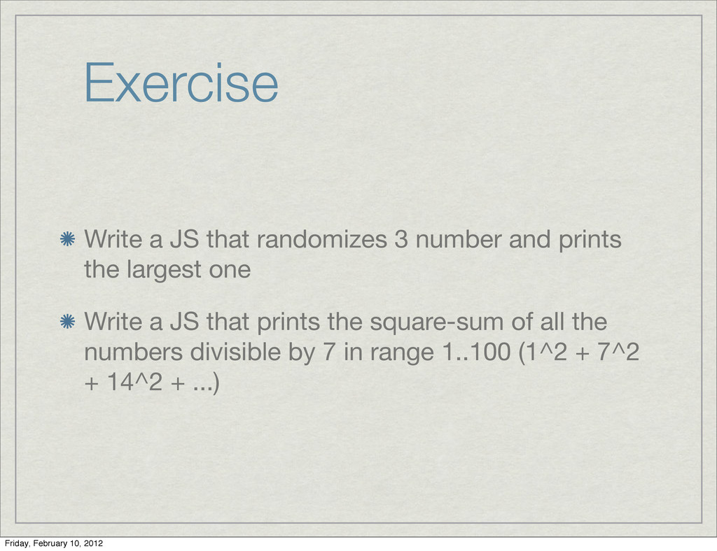 Exercise Write a JS that randomizes 3 number an...