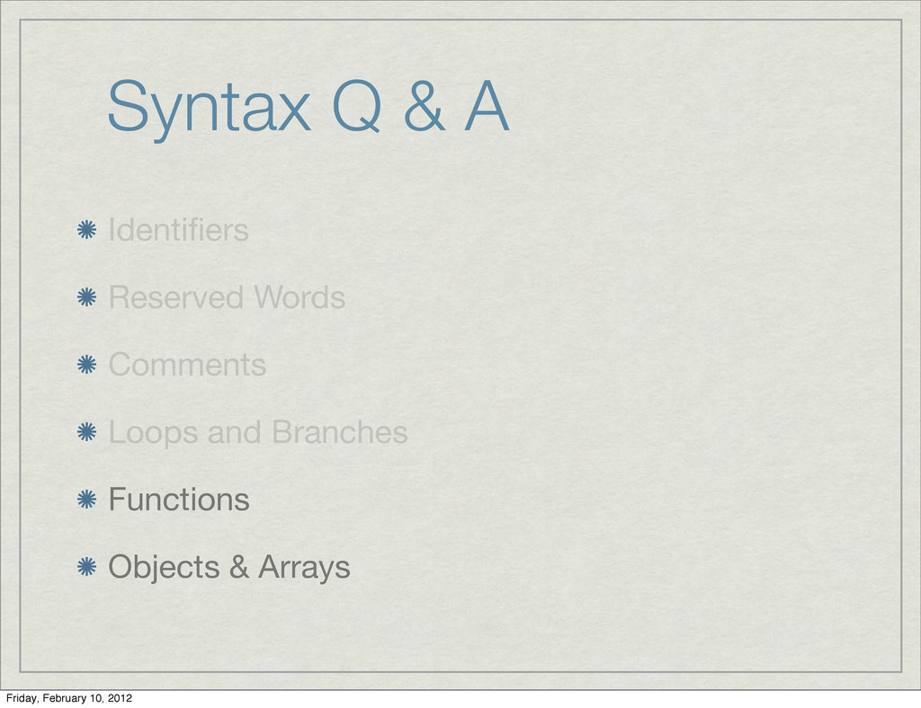 Syntax Q & A Identifiers Reserved Words Comments...