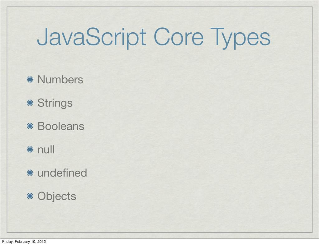 JavaScript Core Types Numbers Strings Booleans ...