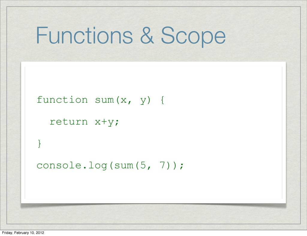Functions & Scope function sum(x, y) { return x...