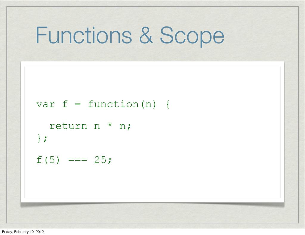 Functions & Scope var f = function(n) { return ...