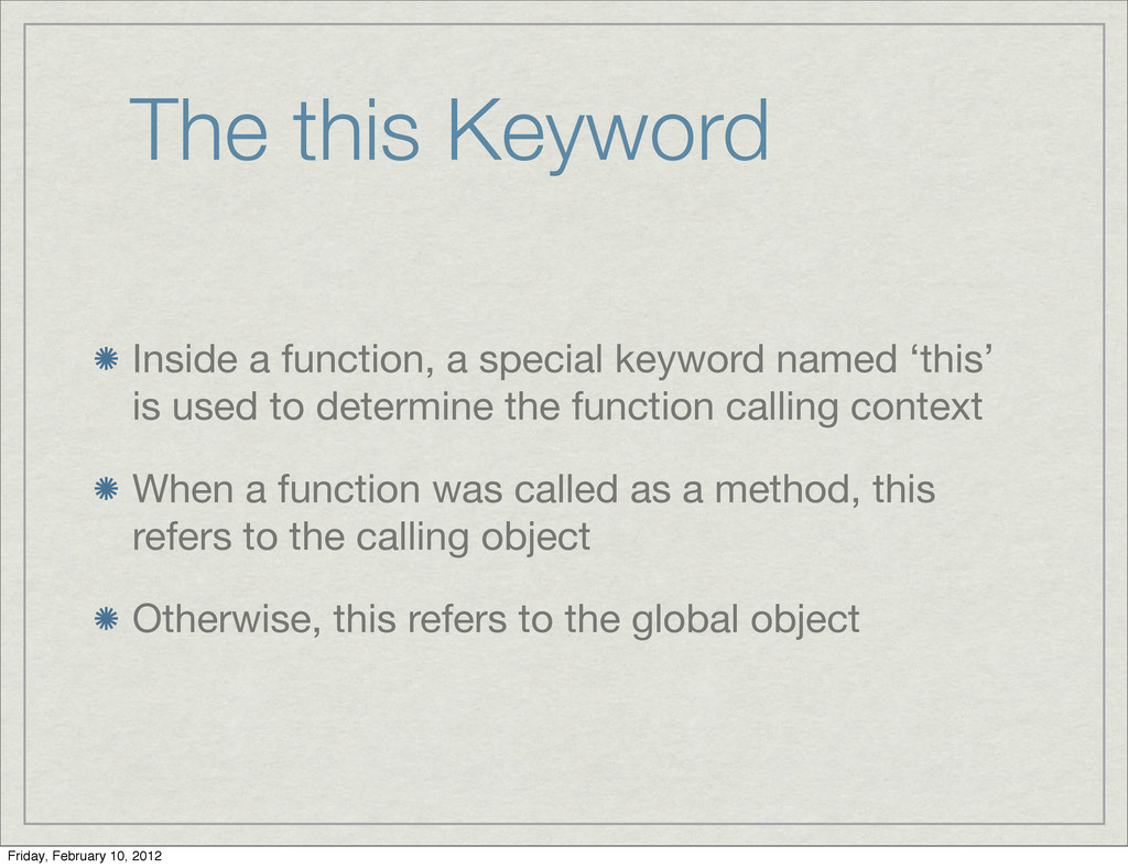 The this Keyword Inside a function, a special k...