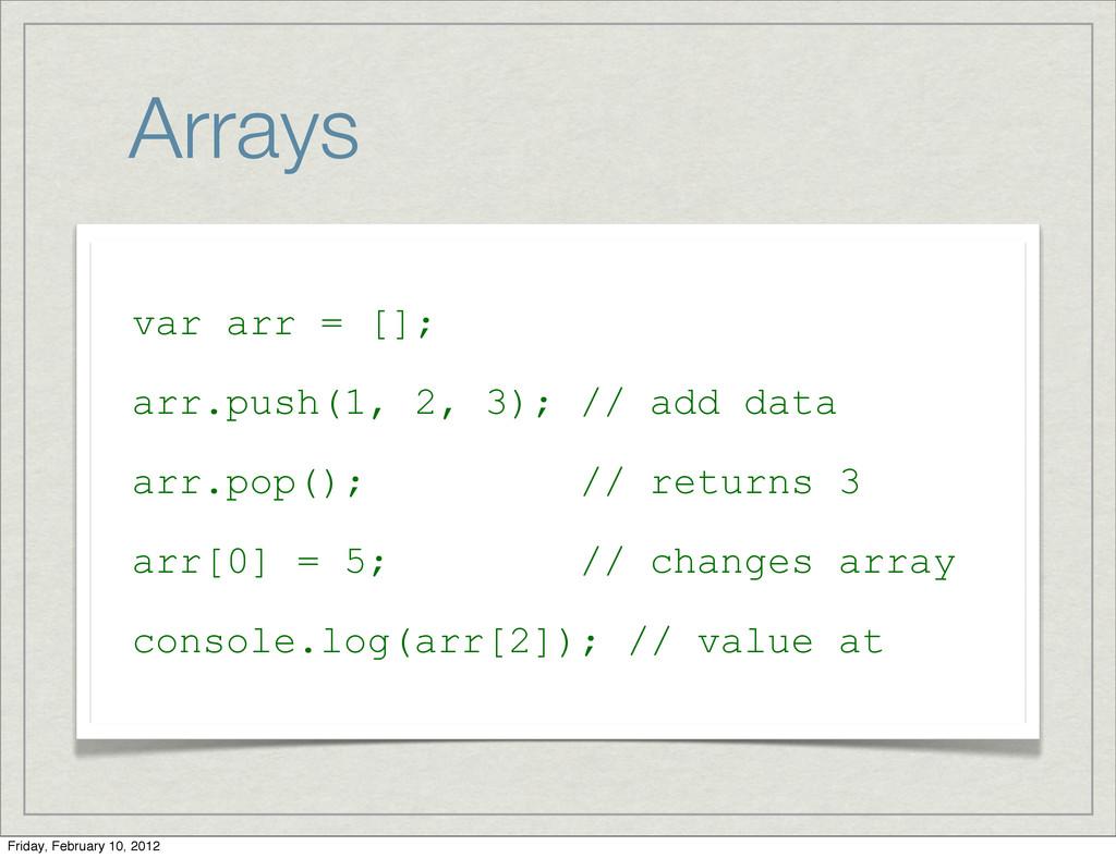 Arrays var arr = []; arr.push(1, 2, 3); // add ...
