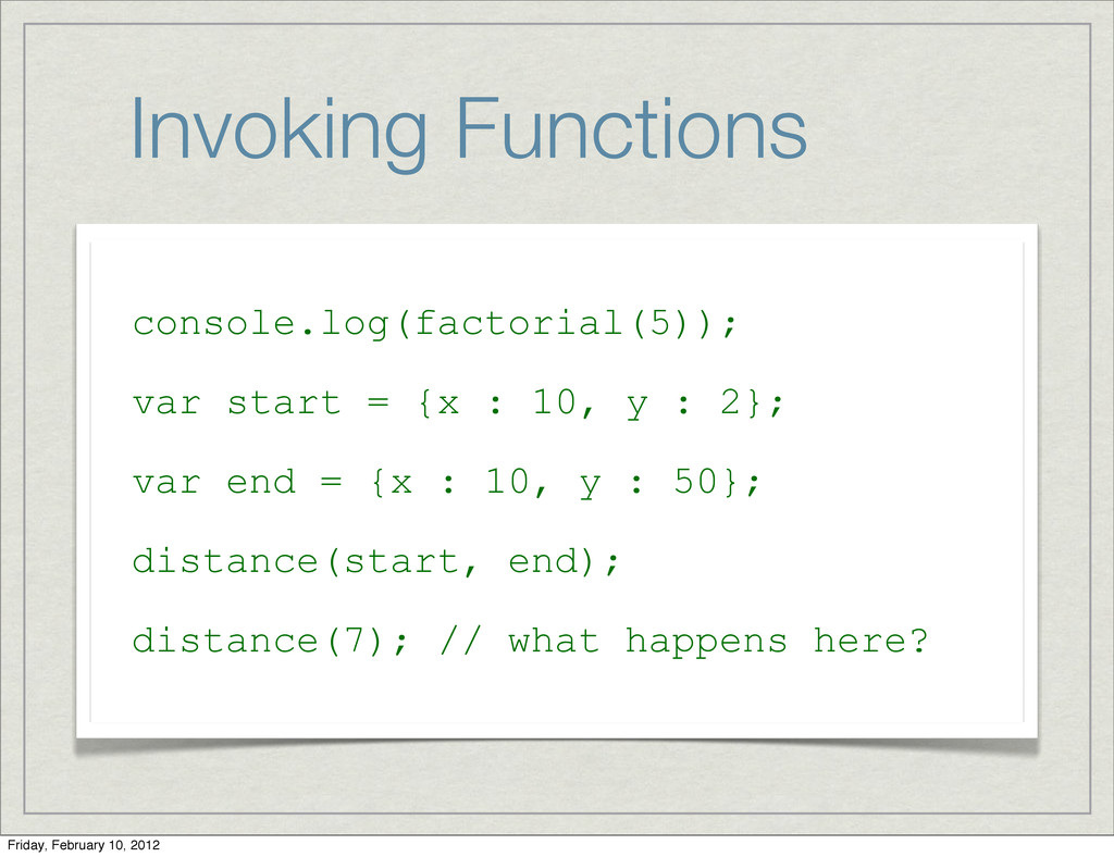 Invoking Functions console.log(factorial(5)); v...