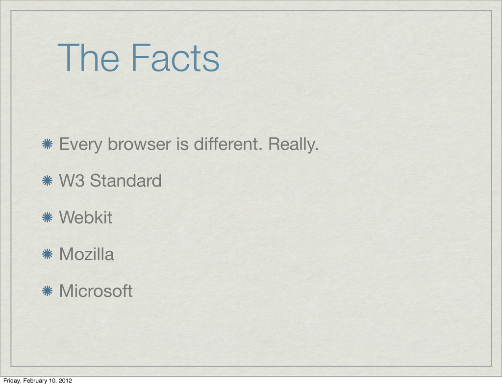 The Facts Every browser is different. Really. W...