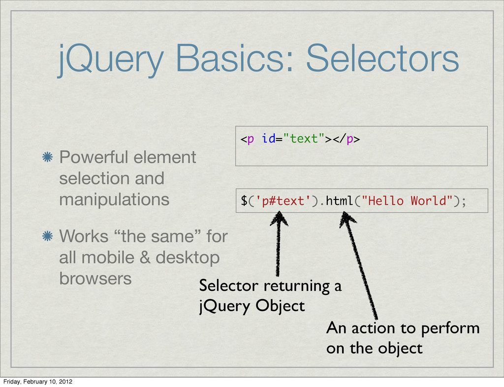 jQuery Basics: Selectors Powerful element selec...